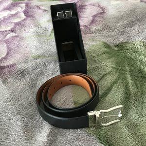 Zanzara Men's Genuine Leather Belt & Cufflinks Set